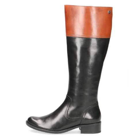 CAPRICE Long Black and Tan Leather Boots